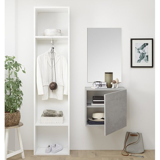 Infra Bathroom Furniture Set In Matt White And Cement Effect_3
