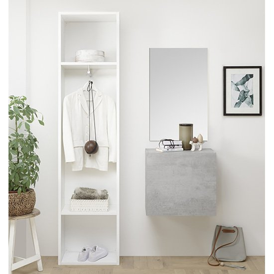 Infra Bathroom Furniture Set In Matt White And Cement Effect_1