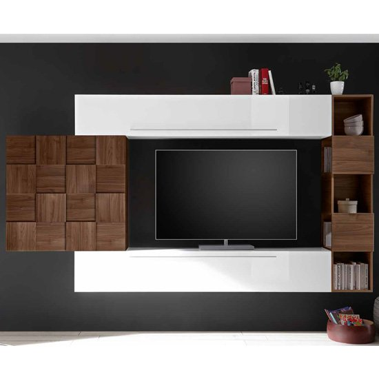 Infra Large White High Gloss Entertainment Unit In Dark Walnut