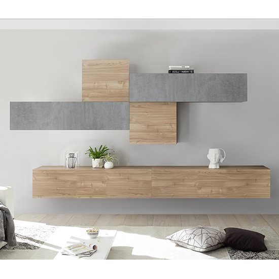 Infra Wall TV Unit In Stelvio Walnut And Cement Effect