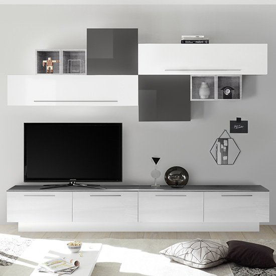 Infra Large Entertainment Unit In White And Grey High Gloss
