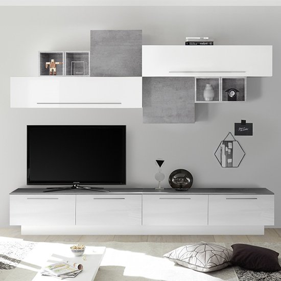 Infra White Gloss Large Entertainment Unit In Cement Effect