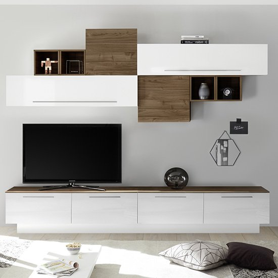 Infra White Gloss Large Entertainment Unit In Dark Walnut