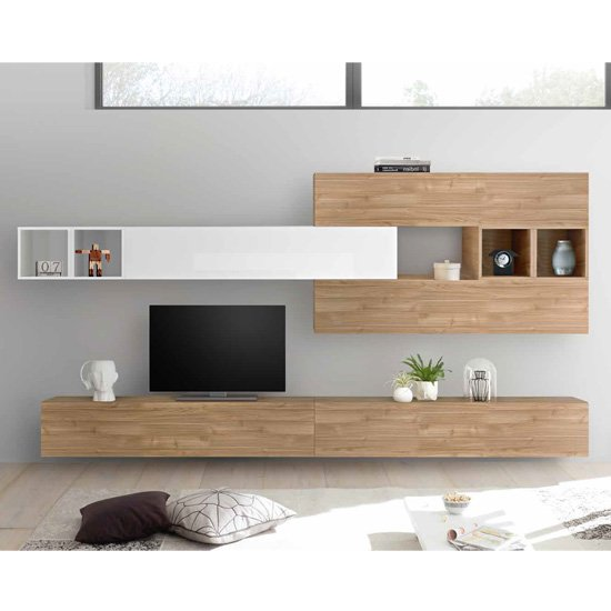 Infra Entertainment Unit In White Gloss And Stelvio Walnut