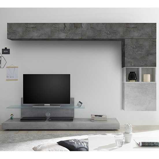 Infra Glass Shelf White Gloss TV Stand In Cement And Oxide