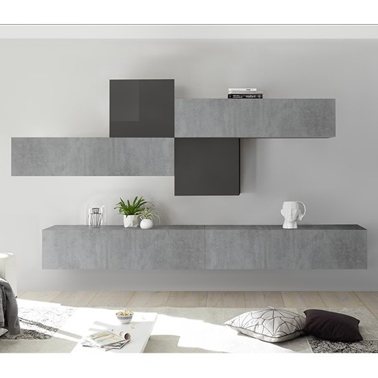 Infra Wall TV Unit In Grey High Gloss And Cement Effect