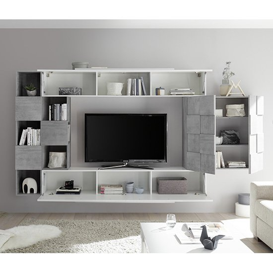 Infra White Gloss Wall Entertainment Unit In Cement Effect_2