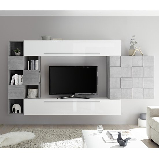 Infra White Gloss Wall Entertainment Unit In Cement Effect_1