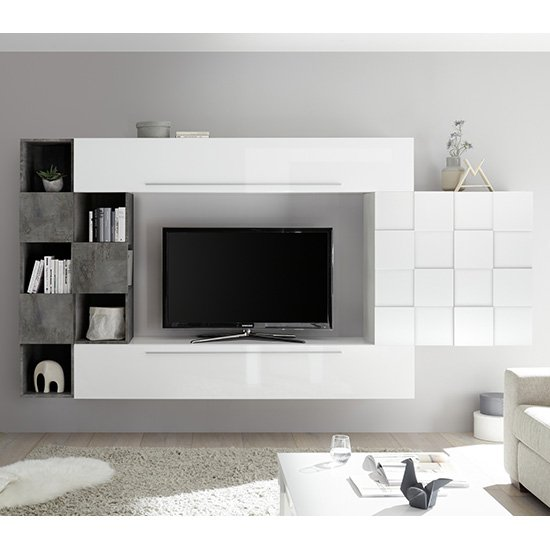 Infra Wall Entertainment Unit In White High Gloss And Oxide