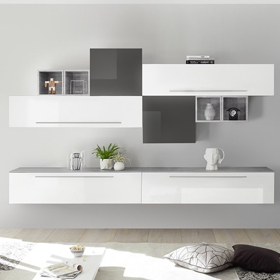 Infra Entertainment Unit In White And Grey High Gloss