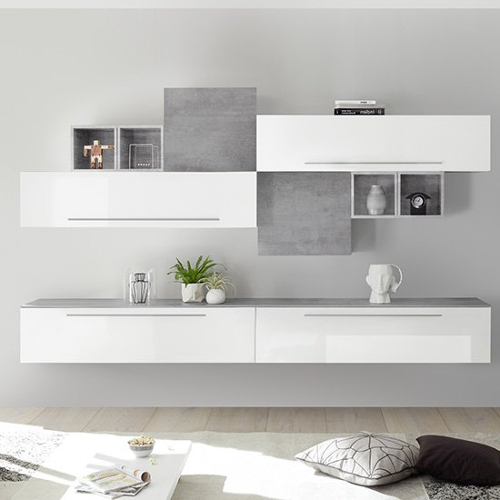 Infra Entertainment Unit In White High Gloss And Cement Effect