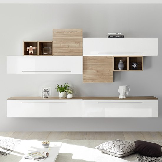 Infra Entertainment Unit In White High Gloss And Stelvio Walnut
