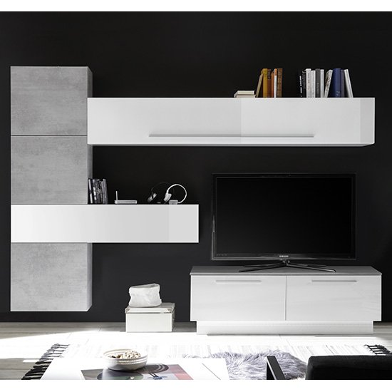 Infra Storage Unit TV Stand In White Gloss And Cement Effect