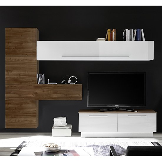 Infra Storage Unit TV Stand In White Gloss And Dark Walnut