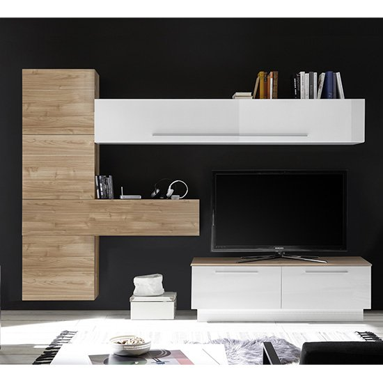 Infra Storage Unit TV Stand In White Gloss And Stelvio Walnut_1