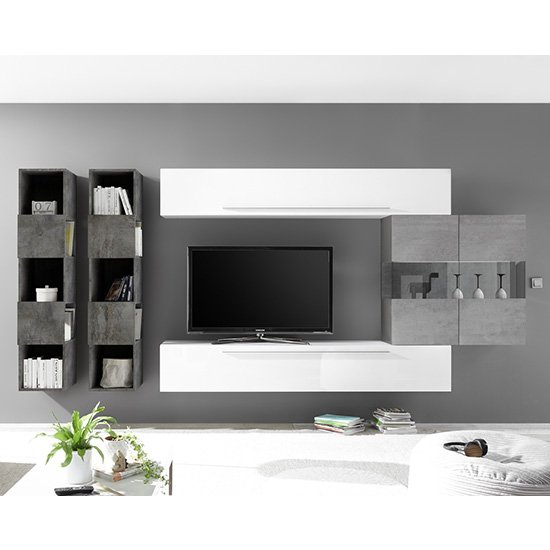 Infra Wall TV Unit And Shelves In White Gloss And Cement Effect