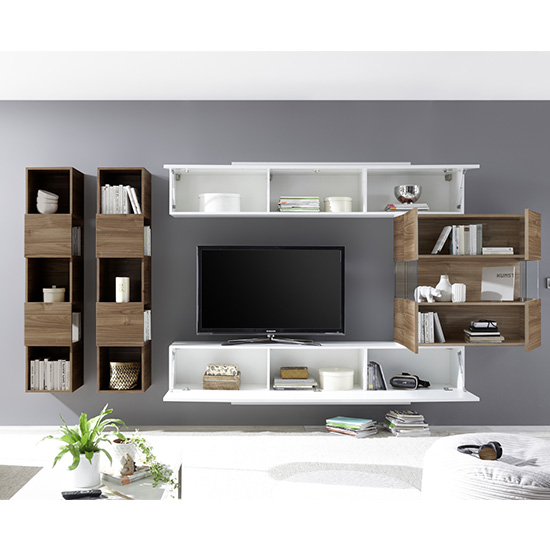 Infra Wall TV Unit And Shelves In Dark Walnut And White Gloss_2