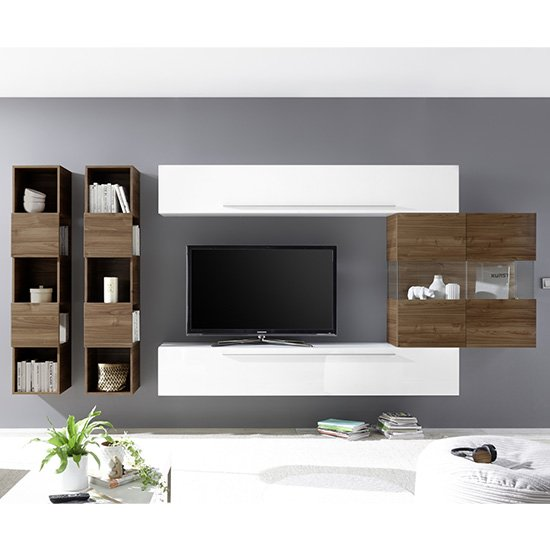 Infra Wall TV Unit And Shelves In Dark Walnut And White Gloss_1