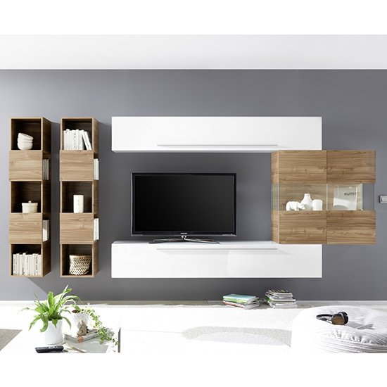 Product photograph showing Infra Stelvio Walnut Wall Tv Unit And Shelves In White Gloss
