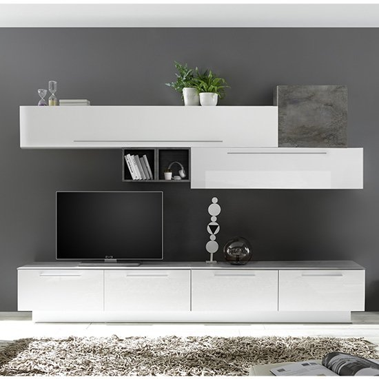 Infra TV Stand With 4 Drawers In White Gloss And Oxide