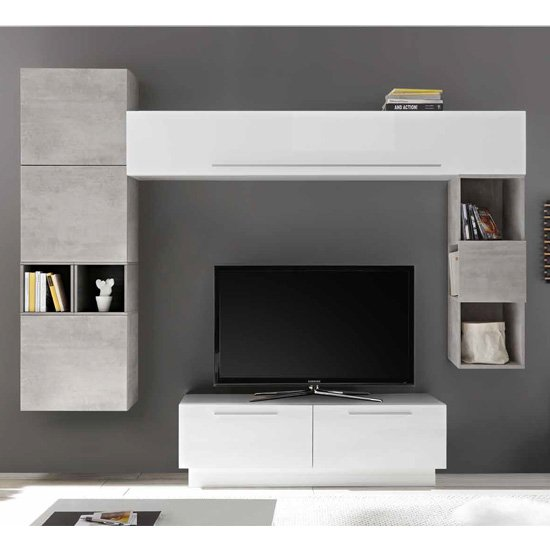 Infra TV Stand With 5 Drawers In White Gloss And Cement Effect_1