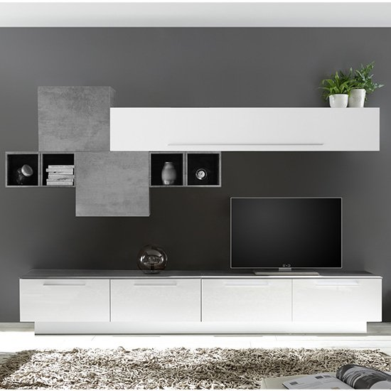 Infra TV Stand With 6 Drawers In White Gloss And Cement Effect_1