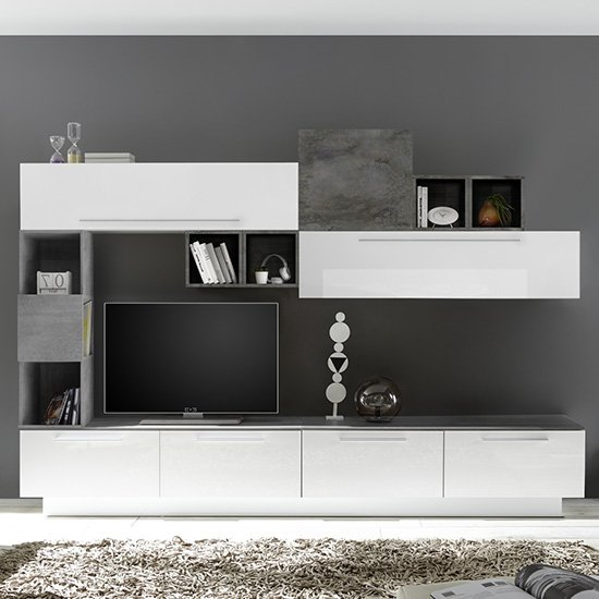 Infra TV Stand With 6 Drawers In White Gloss And Oxide