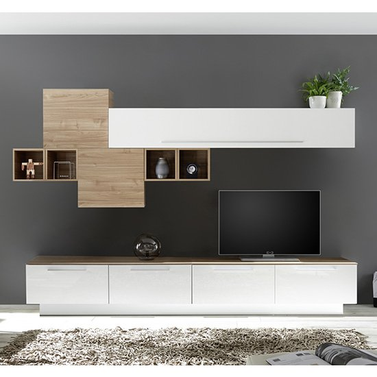 Infra TV Stand With 6 Drawers In White Gloss And Stelvio Walnut