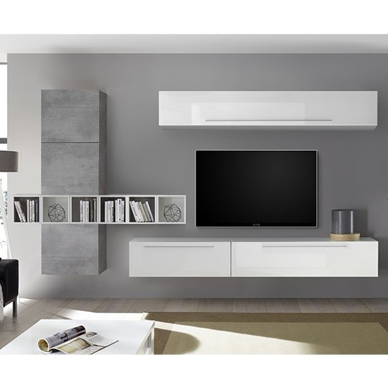 Infra Cement Effect Wall Entertainment Unit In White High Gloss
