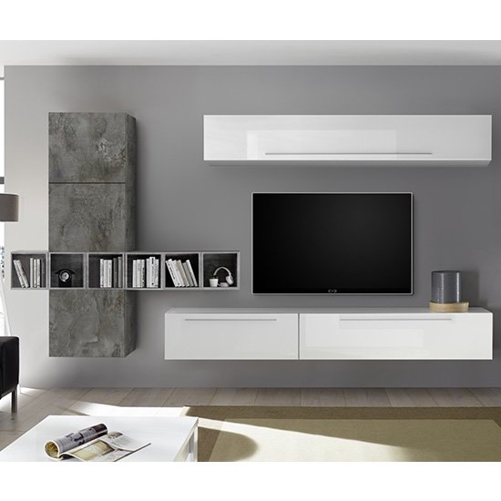 Infra White High Gloss Wall Entertainment Unit In Oxide