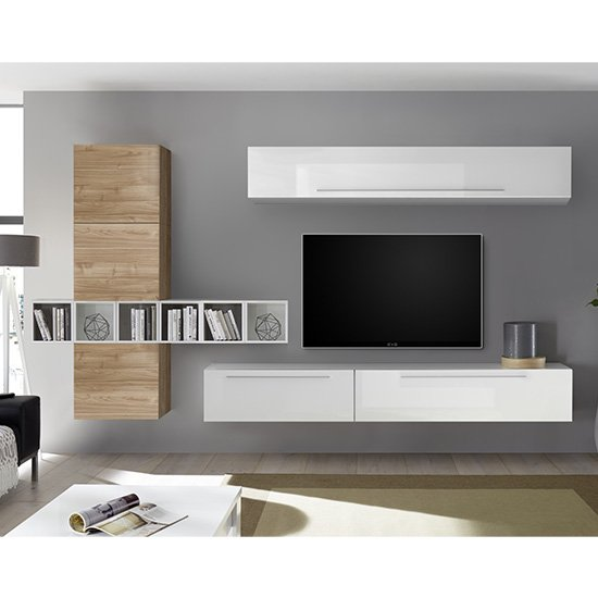 Infra White Gloss Wall Entertainment Unit In Stelvio Walnut