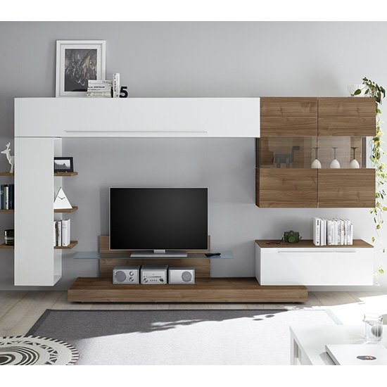Infra Entertainment Unit In Dark Walnut And White High Gloss
