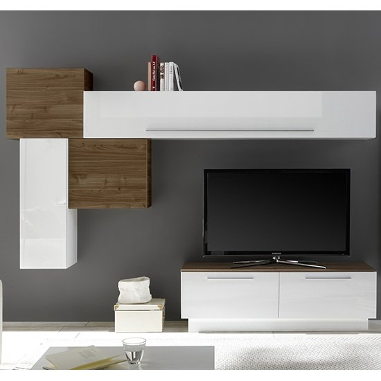 Infra TV Stand And Drawers In White Gloss And Dark Walnut