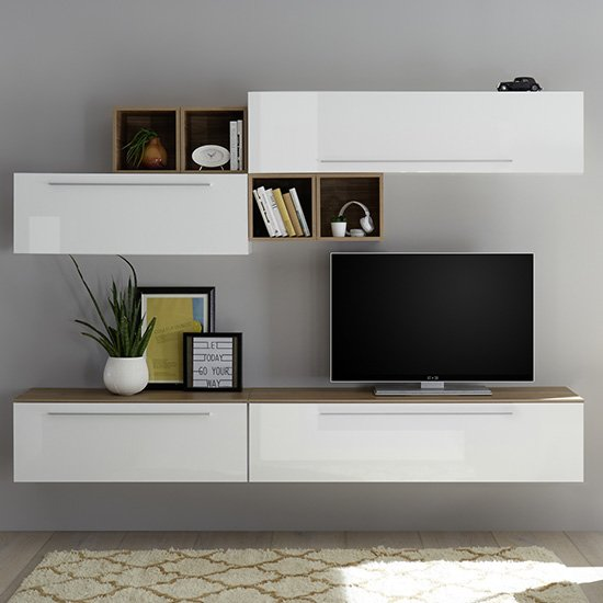 Infra TV Stand And Drawers In White Gloss And Stelvio Walnut
