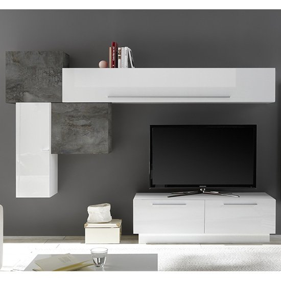Infra TV Stand And Drawers In White High Gloss And Oxide