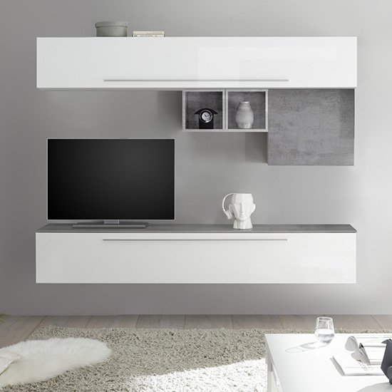 Infra White High Gloss Wall Entertainment Unit In Cement Effect_1