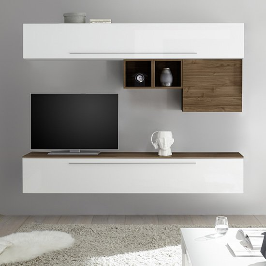 Infra Wall Entertainment Unit In Dark Walnut And White Gloss