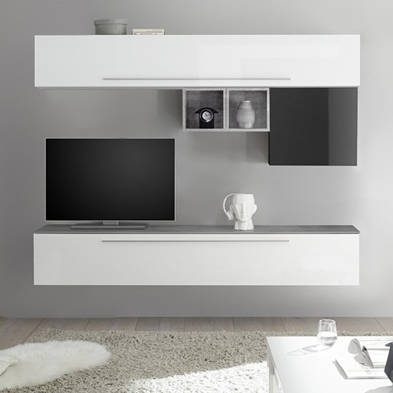 Infra Wall Entertainment Unit In White And Grey High Gloss_1