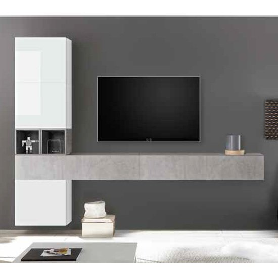 Infra Wall TV Unit In White High Gloss And Cement Effect
