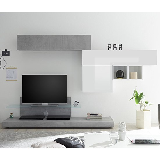 Infra TV Stand In White Gloss And Cement Effect And Glass Shelf