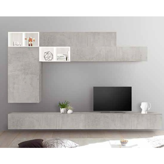 Infra Entertainment Wall Unit In White Gloss And Cement Effect