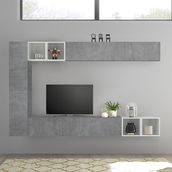Infra White Gloss Wall TV Unit In Cement Effect With 4 Shelves