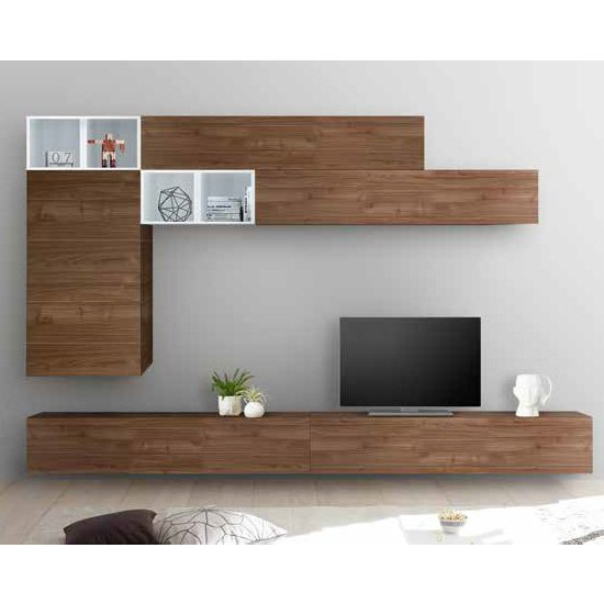 Infra Entertainment Wall Unit In White Gloss And Dark Walnut