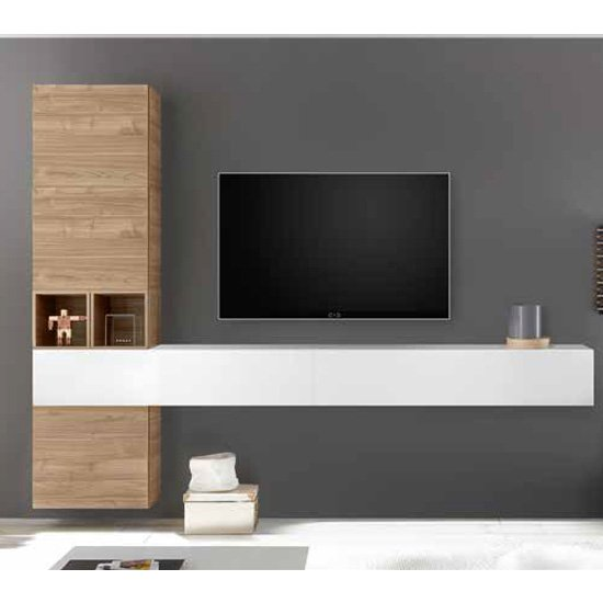 Infra Wall TV Unit In White High Gloss And Stelvio Walnut