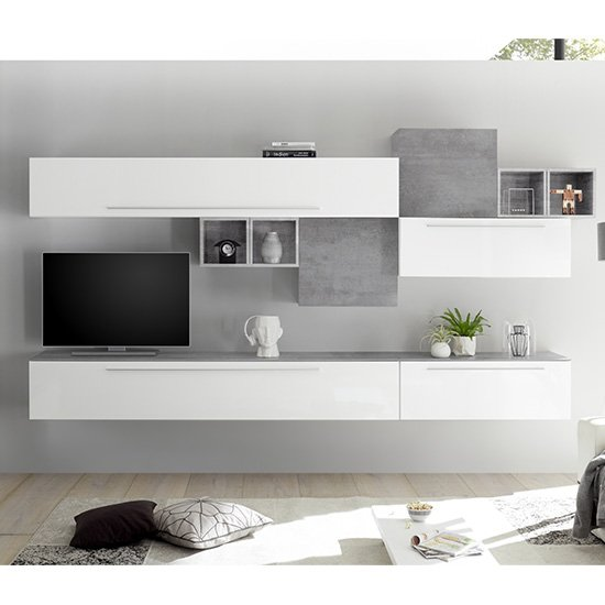 Infra TV Wall Unit In White High Gloss And Cement Effect