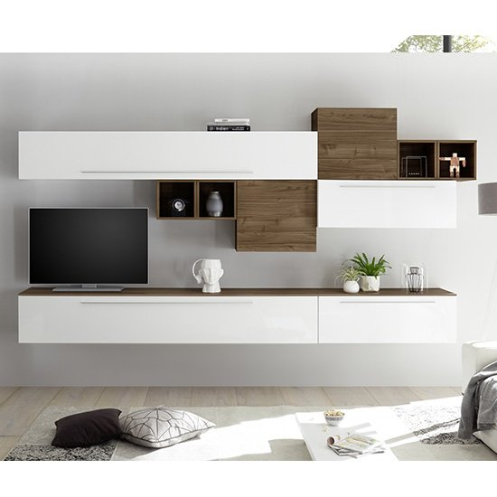 Infra TV Wall Unit In White High Gloss And Dark Walnut