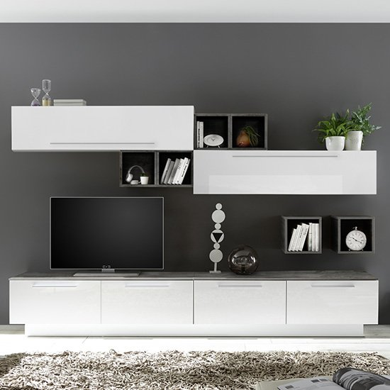 Infra Entertainment Unit In White High Gloss And Oxide
