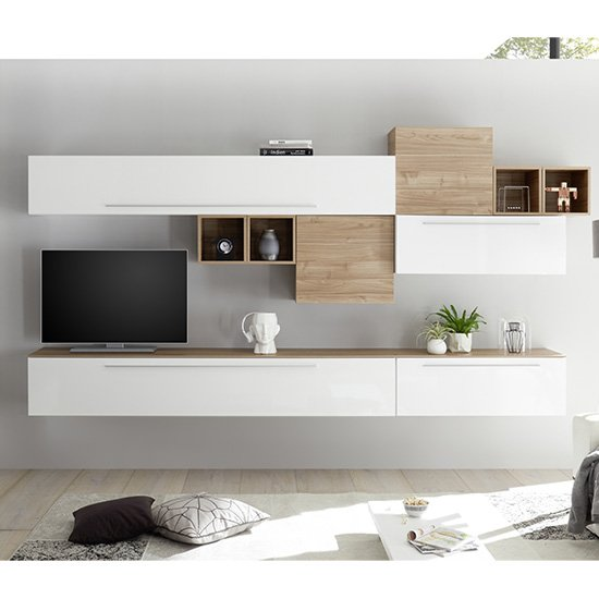 Infra TV Wall Unit In White High Gloss And Stelvio Walnut