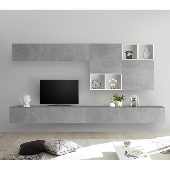 Infra Large White Gloss Entertainment Unit In Cement Effect