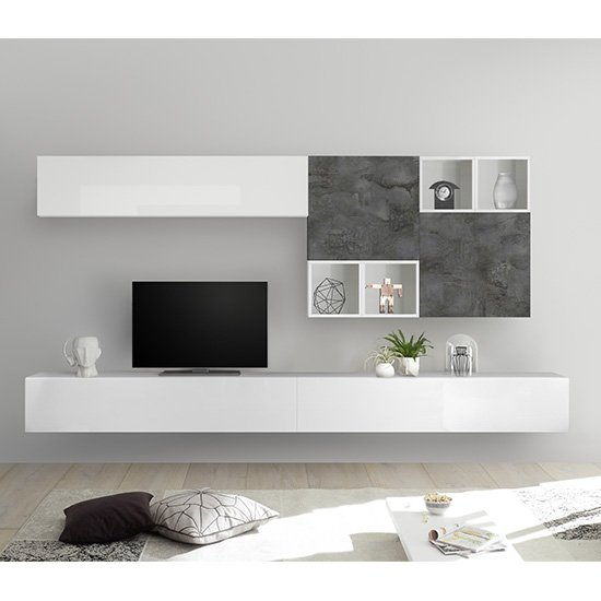 Infra Large White Gloss Entertainment Unit In Oxide